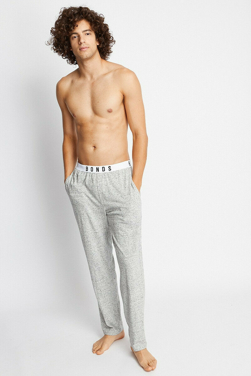 2 X Bonds Mens Comfy Livin Jersey Pant - Lazy Marle Grey Tracksuit Trackies