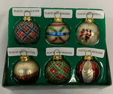 Lot of 2-Dept 56 Mercury Glass Christmas Gazing Ball Ornaments Gold w//Stars  6/'/'