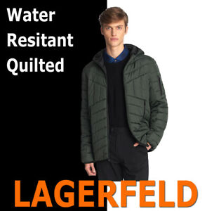MEN-039-S-KARL-LAGERFELD-PARIS-QUILTED-WATER-RESISTANT-HOODIE-PUFFER-JACKET-GREEN