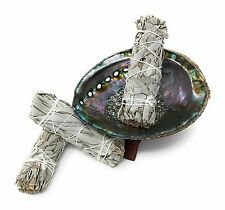 Smudge Kit: Large Abalone Shell, Wooden Stand & Three White Sage Smudge Bundles