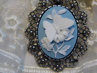 Slvr Vintage Style Blue Butterfly Wedding Bouquet Garter Necklace Cameo Brooch