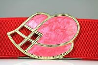 VINTAGE LEAF BUCKLE RED PINK GOLD  ENAMEL ELASTIC BELT /M & M/L