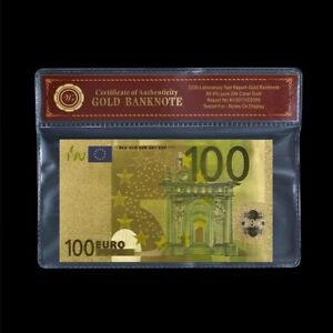 WR-2002-2013-Europe-100-Euros-24K-Gold-Foil-Banknote-Collect-In-COA-Case