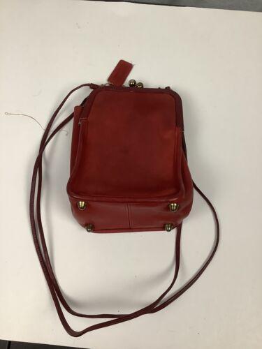 Vintage Red Coach Double Kisslock Swing Bag Pre Cr