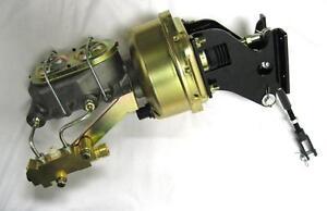 "7/"" Single Power Booster Bail Top Master Cylinder /& Straight Bracket Kit CHROME"