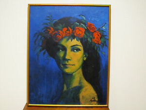 KANSAS-CITY-ARTIST-ROBERT-KALTHOFF-OIL-ON-CANVAS-PAINTING-EXOTIC-LADY