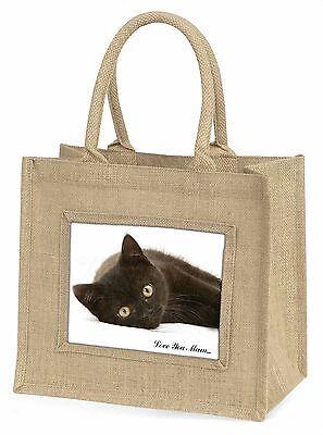 Schwarze Katze 'Liebe, die Sie Mama' Große Natürliche Jute-einkaufstasche