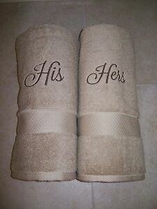 His And Hers Wedding Gifts Uk : His and Hers Bath Embroidered Towels -Christmas Gift- -Wedding Gift ...