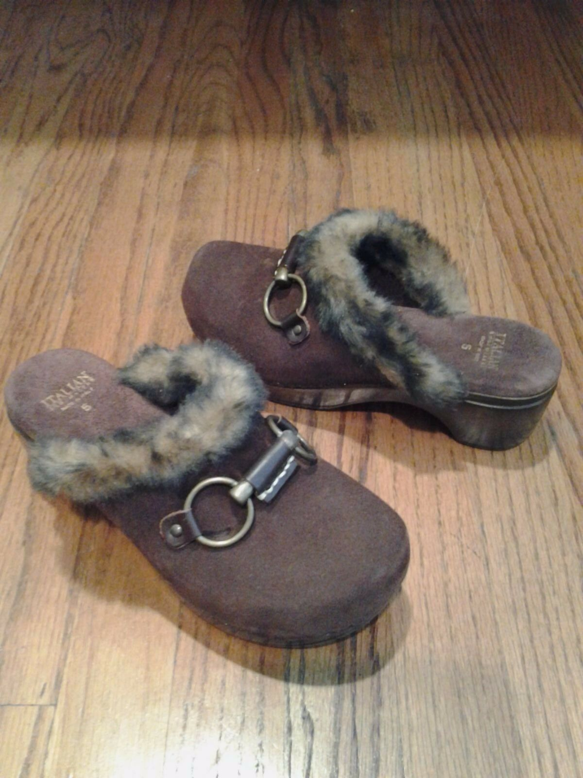 New Italian chaussuresmakers Sabots Mules chocolat en daim marron bordure en fourrure synthétique chaussure 5