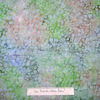 Bali Batik Fabric - Mint Leaves On Green Brown Blue - Cotton 30