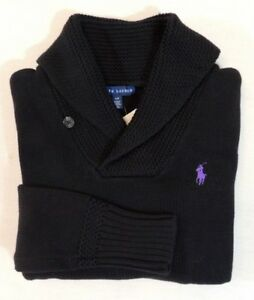 Ralph-Lauren-Blue-Label-Purple-Pony-Long-Sleeves-Shawl-Collar-Ski-Sweater-XS-M-L
