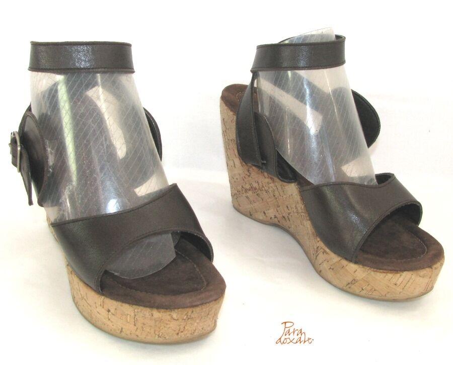 PARADOXALE sandali con zeppa 37 & PIATTAFORMA PELLE MARRONE 37 zeppa OTTIME CONDIZIONI 7c67e4