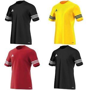 Adidas-Boys-T-shirts-Entrada-Football-Training-Kids-Tops-Sports-Black-Yellow