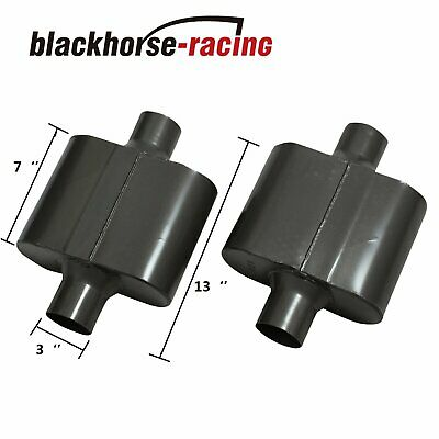 BLACKHORSE-RACING 3 Inch Inlet 3 Inch Outlet Muffler 12 Overall Length Pair of Universal Stainless Steel Weld-on Exhaust Muffler//Resonator Deep Sound for Cars