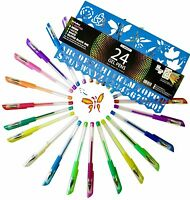 Gel Pens Set - Premium Quality - 24 Colored Pens Glitter Free Shipping