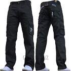 NEUF pour hommes ENZO Créateur foncé CARGO COMBAT jeans pantalon tout taille &