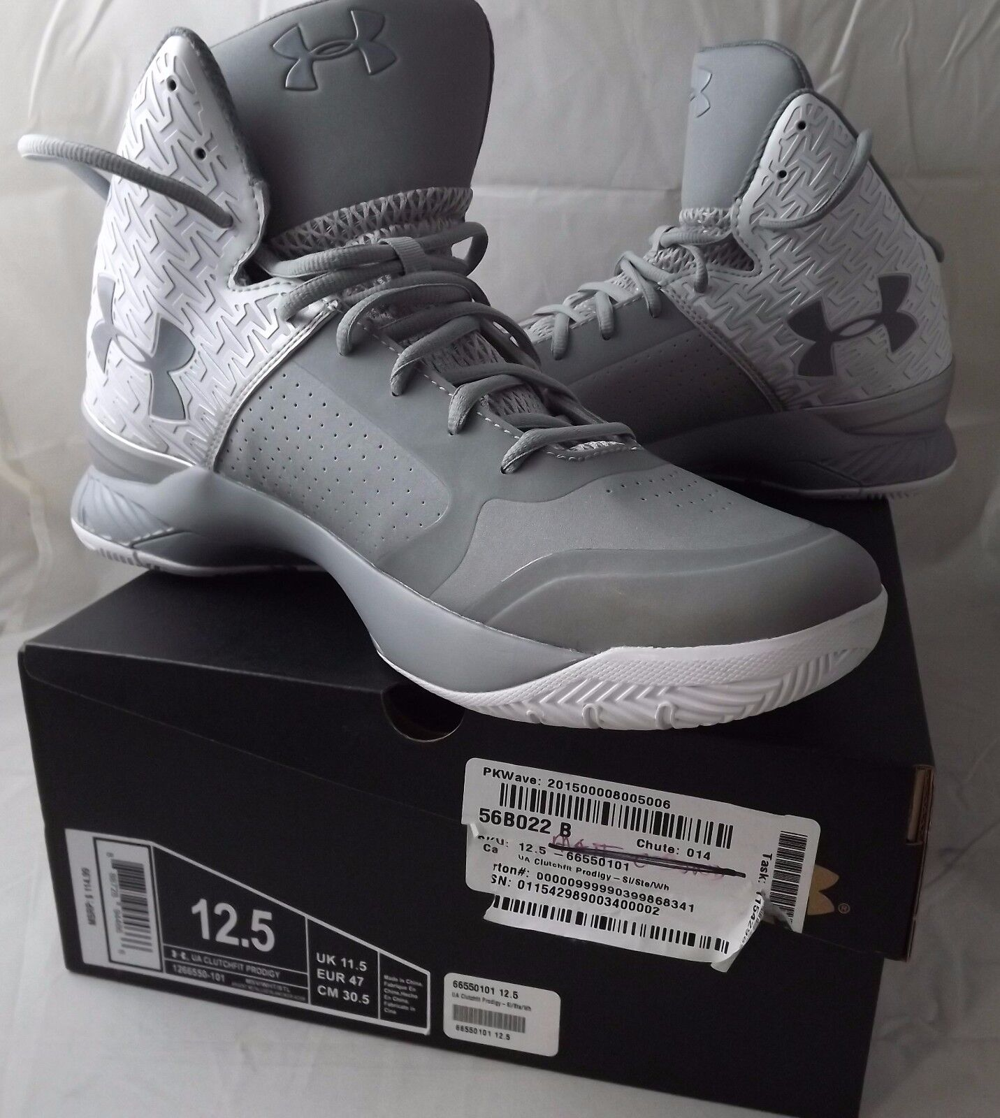 New under baloncesto armour UA clutchfit Prodigy 12,5 zapatillas de baloncesto under blanco gris plata 031763