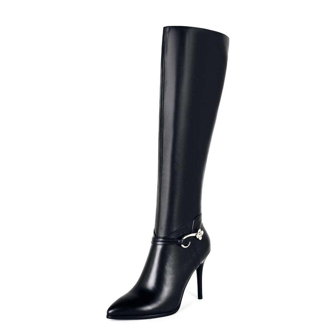Elissara femmes's Real Leather Zip High Heel Knee High bottes chaussures AU Taille 2-9