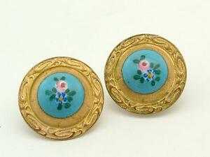 Antique Georgian Enamel/Pinchbeck Flower Button Studs/Earrings