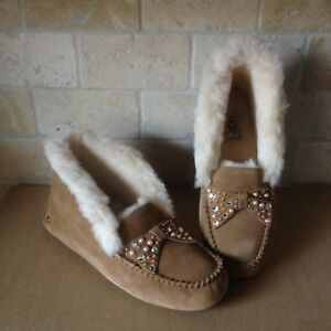 6862449d903 Details about UGG Alena Brilliant Bling Chestnut Slippers Moccasins Suede  Cuff Size 7 Womens