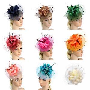 ALSKEN Women Cocktail Fascinator Derby Party Headpiece Hair Clip Pillbox Hat Feather Wedding Bridal Headdress