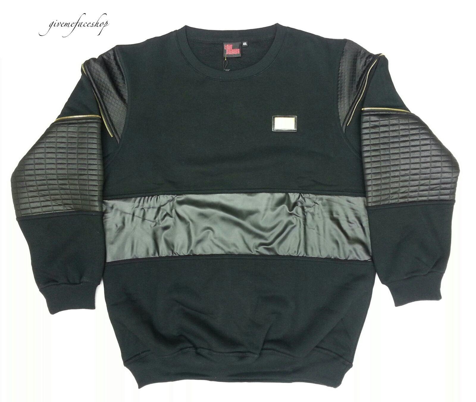 Time is Money mens G faux Leder sweatshirt club-star print jumper hip hop bl
