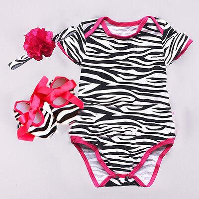 Newborn Infant Baby Girl 3pcs Zebra Romper Bodysuit headband Shoes Sets Clothes