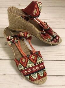 490a030c916 Bamboo Red Aztec Wedges 8.5 Espadrilles Shoes Canvas Rope Heel Beach ...