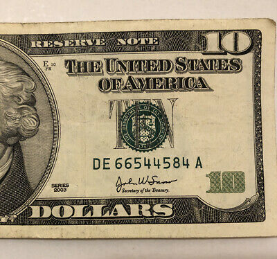 2003 A $1 New York District 4 Digit Repeater Fancy Number FR #1930-B