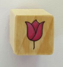 Wood Backed Rubber Stamp Tulip