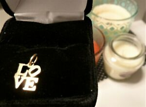 14k Yellow Gold One LOVE Flat Charm Very Lovely
