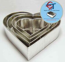 "SET OF 4-PIECE HEART SHAPE CAKE BAKING PANS BY EURO TINS 6"" 8"" 10"" 12"" (3"" DEEP)"