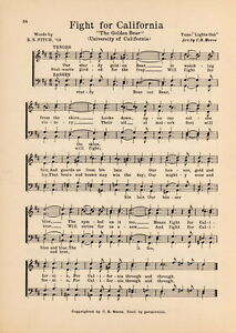 "UNIVERSITY OF CALIFORNIA Cal Berkeley Song 1929 /""Fight for California/"" Original"