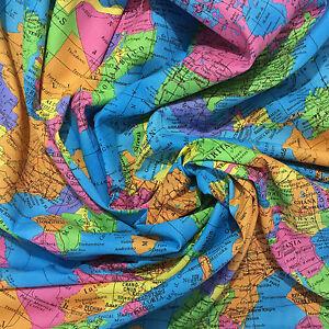 100 cotton print atlas map fabric dress dance craft quilt 54 image is loading 100 cotton print atlas map fabric dress dance gumiabroncs Images