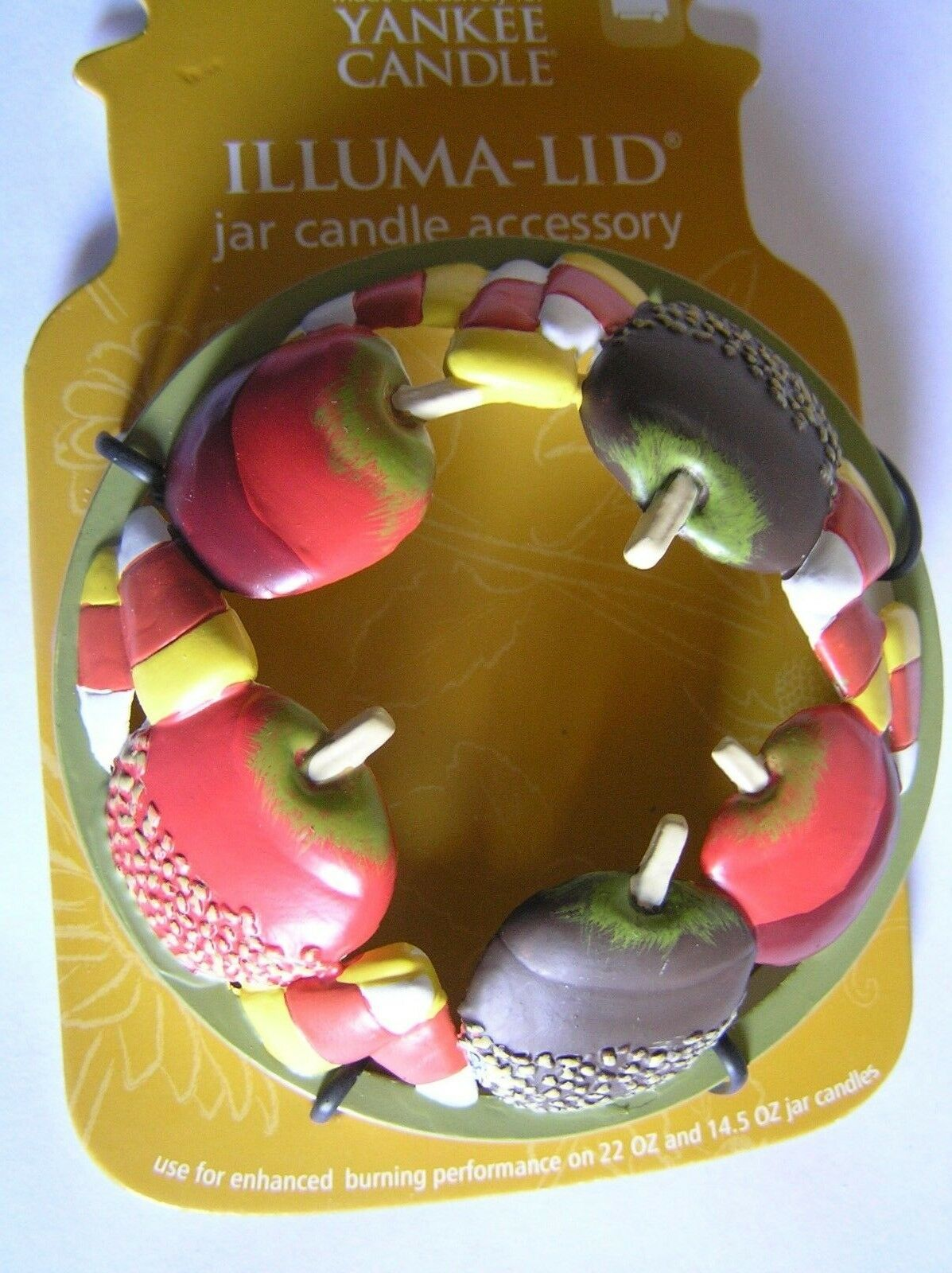 Yankee Candle Halloween Candy Apples Corn Illuma Lid Topper New Free Shipping
