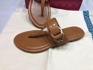 NEW-Tory-Burch-Women-039-s-Marsden-Flat-Thong-Sandal-Calf-Leather-Tan-MANY-SIZES