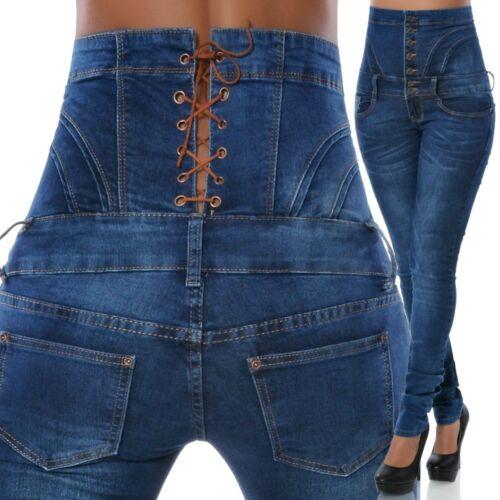 Damen Jeans Hose Hochschnitt Röhre Röhrenjeans Stretch Hoher Bund Corsage N14160