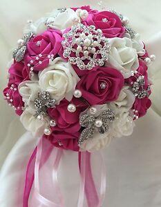 Bouquet Sposa Fucsia.Dettagli Su Bouquet Da Sposa Posy Fucsia E Avorio Roses Con Spille Spillette Mostra Il Titolo Originale