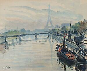 VUE PARIS. AQUARELLE SUR PAPIER. SIGNÉ A. GUERIN. VERS 1940.