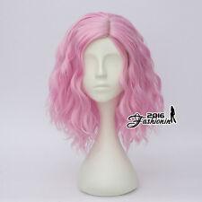 Fancy 35CM Pink Medium Lolita Curly Women Party Hair Cosplay Wig Heat Resistant
