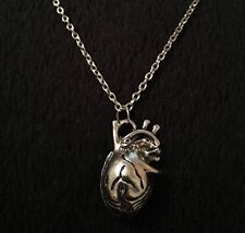Anatomical Human Heart Necklace Geek Science Nerd Love Rockabilly Silver Gothic