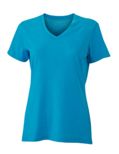 XXL Damen TShirt mit V-Ausschnitt Kurzarm Baumwollmischung James+Nicholson S