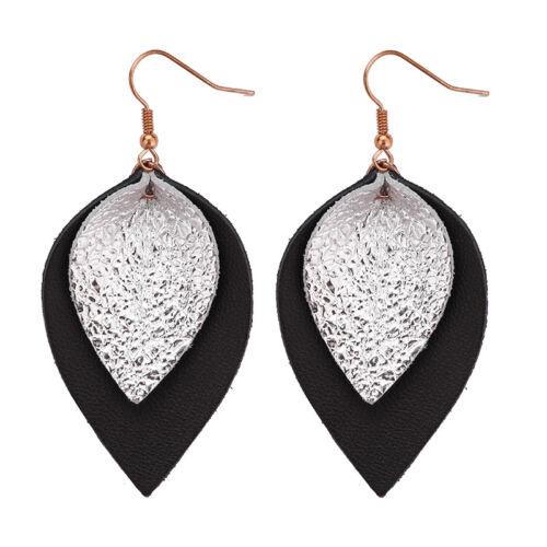 Fashion Femmes bohème en cuir véritable Feuille Larme Dangle Boucles d/'oreilles Bijoux Cadeau