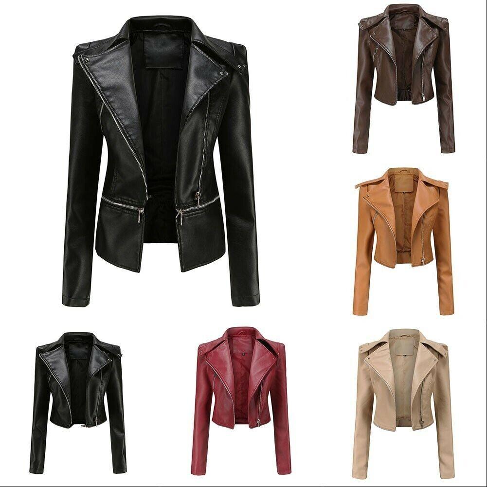 Women's Faux Leather Coat Wet Look Outwear Long Sleeve Motorcycle Party Jackets