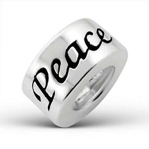 925-Sterling-Silver-Round-PEACE-Word-Plain-Bracelet-Charm-Bead-Gift-Boxed-B225
