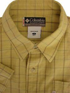 393583d2acb COLUMBIA Shirt Mens 16 S Light Yellow - Check SHORT SLEEVE | eBay
