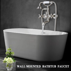 Wall Mounted Bathroom Clawfoot Shower Bathtub Shower Faucet Brushed