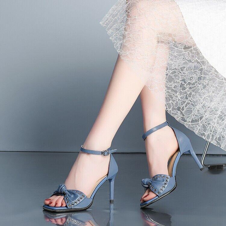Femme Fashion Cuir Clous Noeud Papillon Bride Cheville Talon Haut Sandales Chaussures omeq
