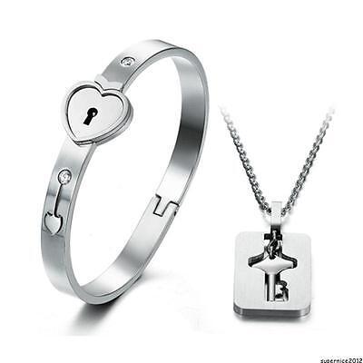 Heart Lock Bracelet with Lock Key Pendant Titanium Steel Couple Sets Lover Gift