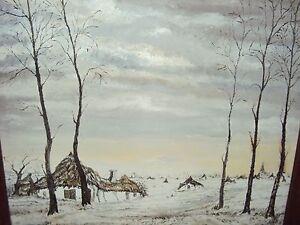 HUILE-SUR-PANNEAU-XXeme-CADRE-OFFERT-PAYSAGE-D-039-HIVER-non-SIGNEE-68x60-5-cm